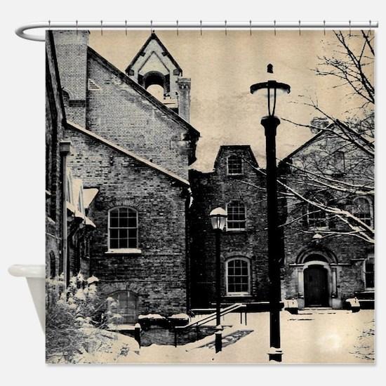vintage church street light Shower Curtain