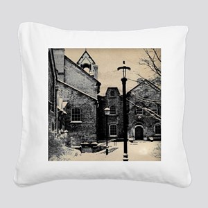 vintage church street light Square Canvas Pillow