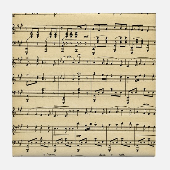 Antique Sheet Music Tile Coaster