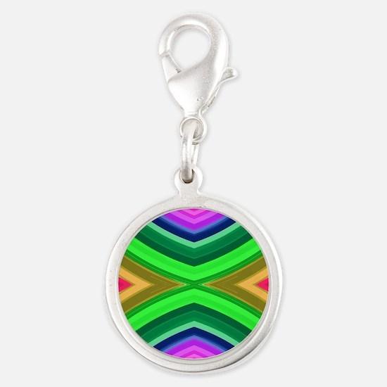 girly rainbow geometric patter Silver Round Charm