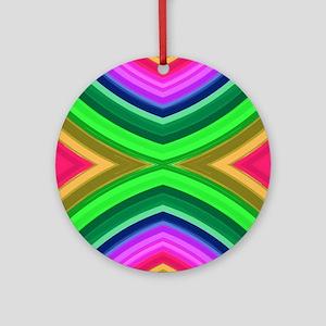girly rainbow geometric pattern Round Ornament