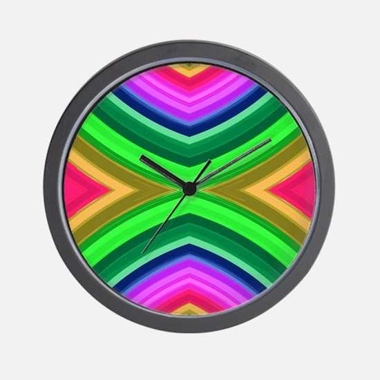 girly rainbow geometric pattern Wall Clock