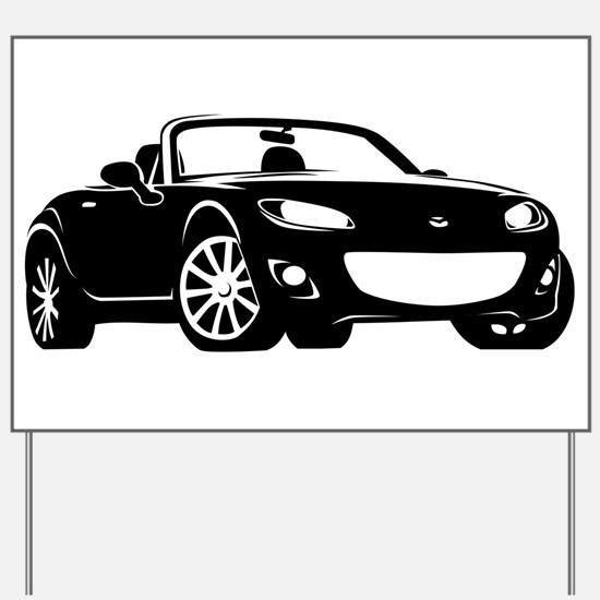 NC 2 Black Miata Yard Sign