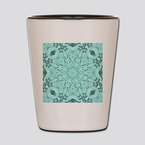 girly turquoise wood star Shot Glass