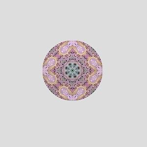 pink bohemian floral mandala Mini Button