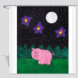 Floid at night Shower Curtain