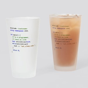 Eat, Sleep, and Code Repeatedly Drinking Glass