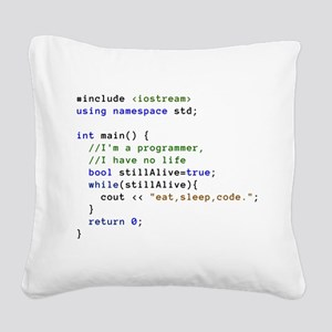 Eat, Sleep, and Code Repeated Square Canvas Pillow