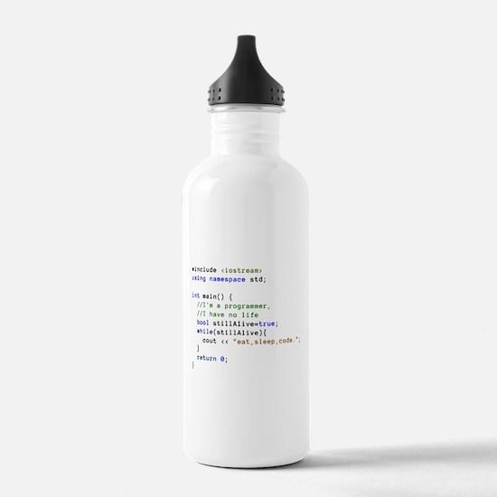 Eat, Sleep, and Code R Water Bottle