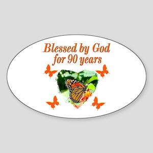 CHRISTIAN 90 YR OLD Sticker (Oval)