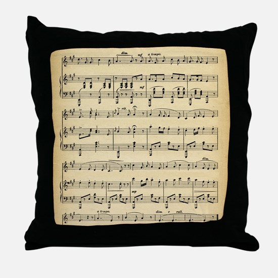 Antique Sheet Music Throw Pillow