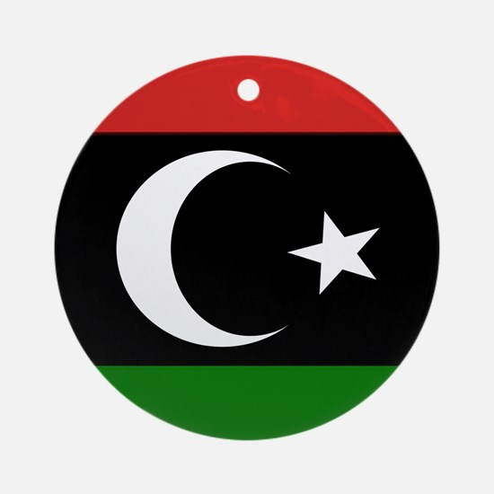 Square Libyan Flag Ornament (Round)