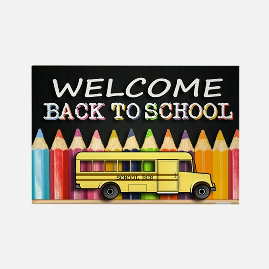WELCOME BACK TO SCHOOL BUS Rectangle Magnet
