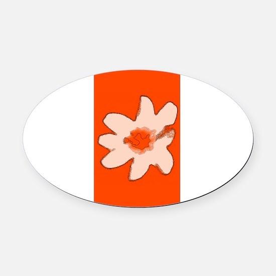 Orange Floral Flower Wilma's Fave Oval Car Magnet
