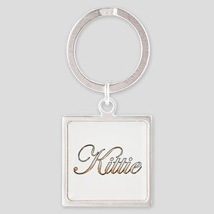 Gold Kittie Square Keychain