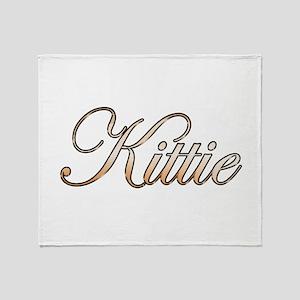 Gold Kittie Throw Blanket
