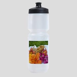 Floral beardie Sports Bottle