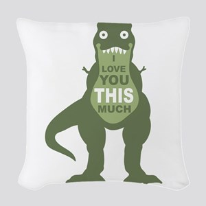 I love you this much Woven Throw Pillow