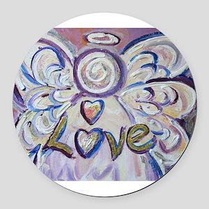 Love Angel Round Car Magnet