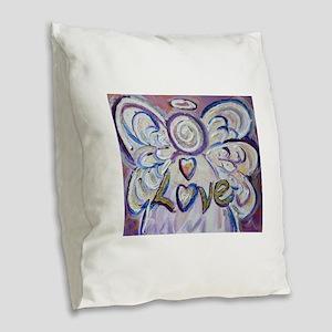 Love Angel Burlap Throw Pillow