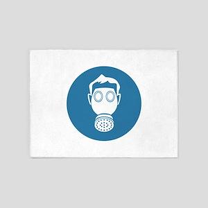 Gas Mask Single Filter Blue 5'x7'Area Rug