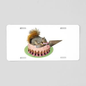Squirrel Cutting Cake Aluminum License Plate