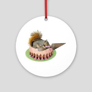 Squirrel Cutting Cake Ornament (Round)