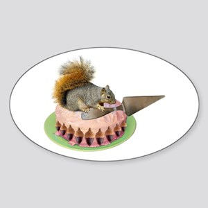 Squirrel Cutting Cake Sticker (Oval)