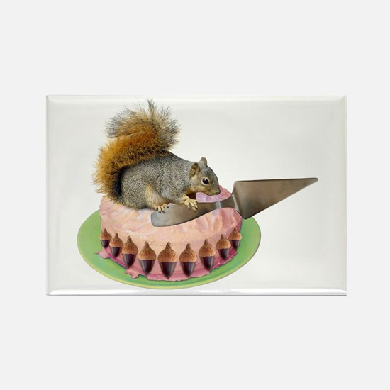 Squirrel Cutting Cake Rectangle Magnet