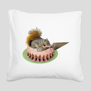 Squirrel Cutting Cake Square Canvas Pillow