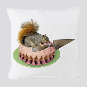 Squirrel Cutting Cake Woven Throw Pillow