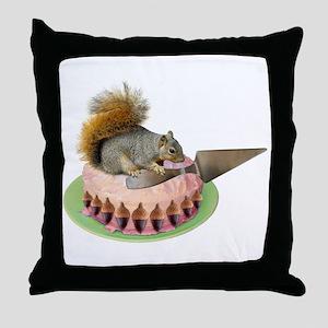 Squirrel Cutting Cake Throw Pillow