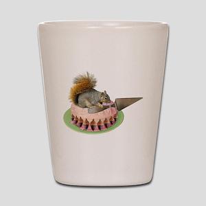 Squirrel Cutting Cake Shot Glass