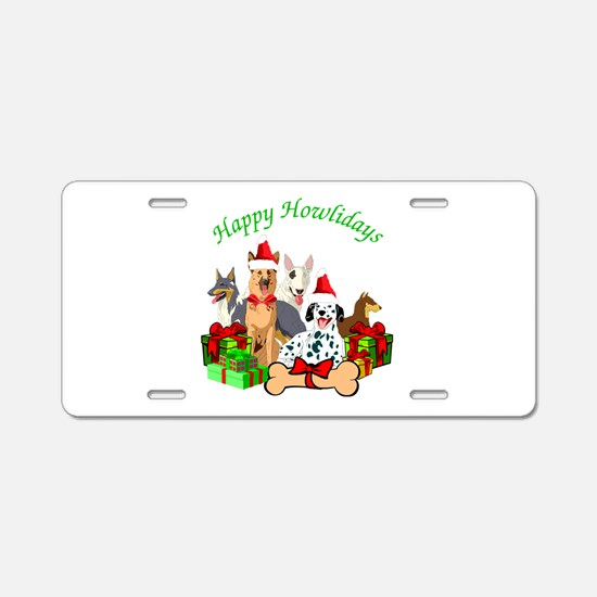 Howliday Dogs Aluminum License Plate