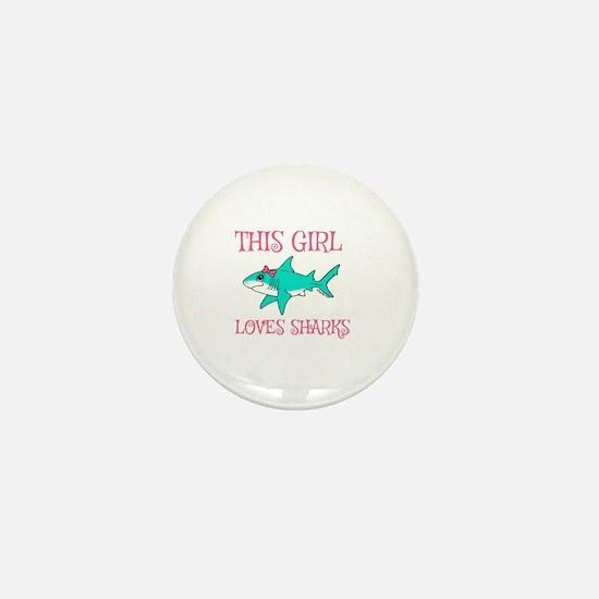 Shark Girl Mini Button