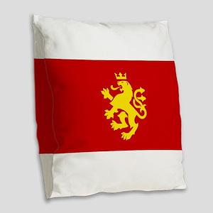MACEDONIA Ethnic Flag Burlap Throw Pillow