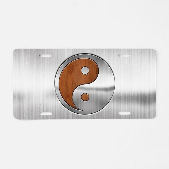 Wood Chrome Yang Aluminum License Plate