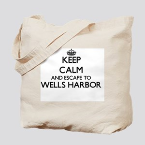 Keep calm and escape to Wells Harbor Main Tote Bag
