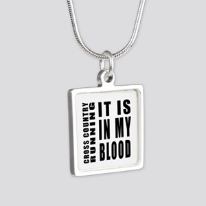 Cross Country Running it i Silver Square Necklace