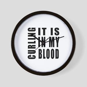 Curling it is in my blood Wall Clock