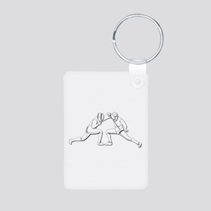 Fencing - 2 Fencers - Silh Aluminum Photo Keychain