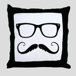 Fancy Mustache Face Throw Pillow