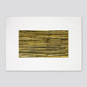 Yellow Bamboo Pattern 5 X7 Area Rug