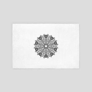Black and White Mandala 4' x 6' Rug