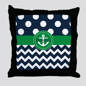 Navy Green Anchor Personalized Throw Pillow