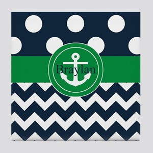 Navy Green Anchor Personalized Tile Coaster