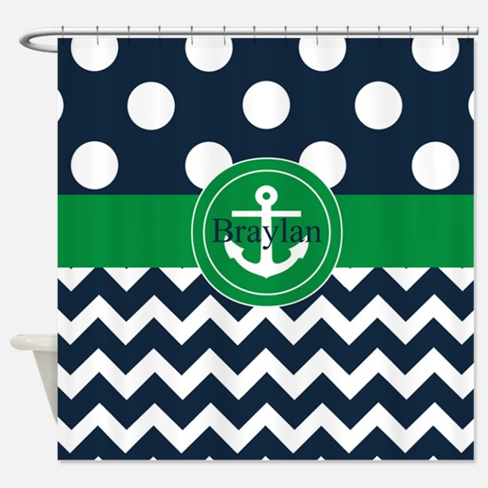 Navy Green Anchor Personalized Shower Curtain