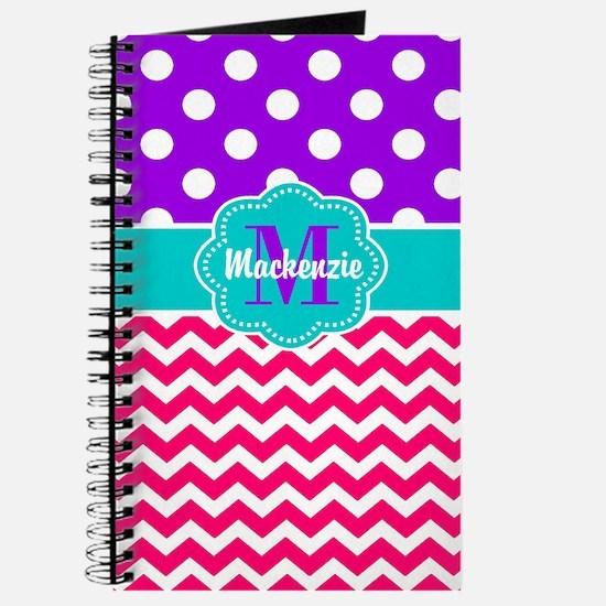 Purple Pink Dots Chevron Personalized Journal