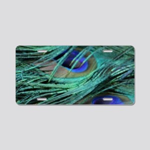 perfect peacock feathers Aluminum License Plate