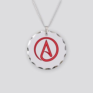 Scarlet Letter Atheist Symbo Necklace Circle Charm
